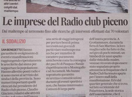 Radio Club Piceno sul Corriere Adriatico del 11-02-2019